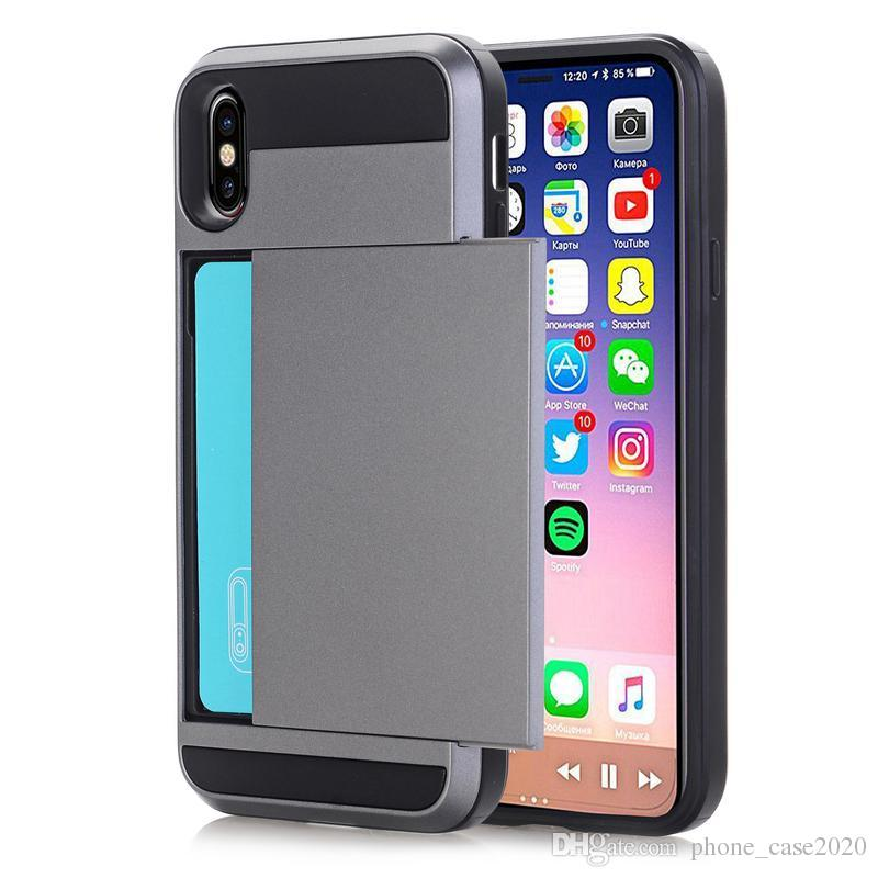 Slim Slide Credit Card Slot Case For iPhone X 8 7 7 Plus 6 6S Plus 5 5s SE