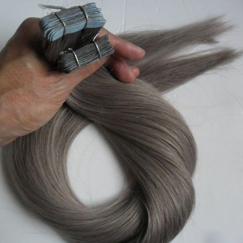Silver Grey Tape Extension 100g 2.5g / pc Tape en la extensión del pelo humano / pack Seamless Straight Skin Weft Hair