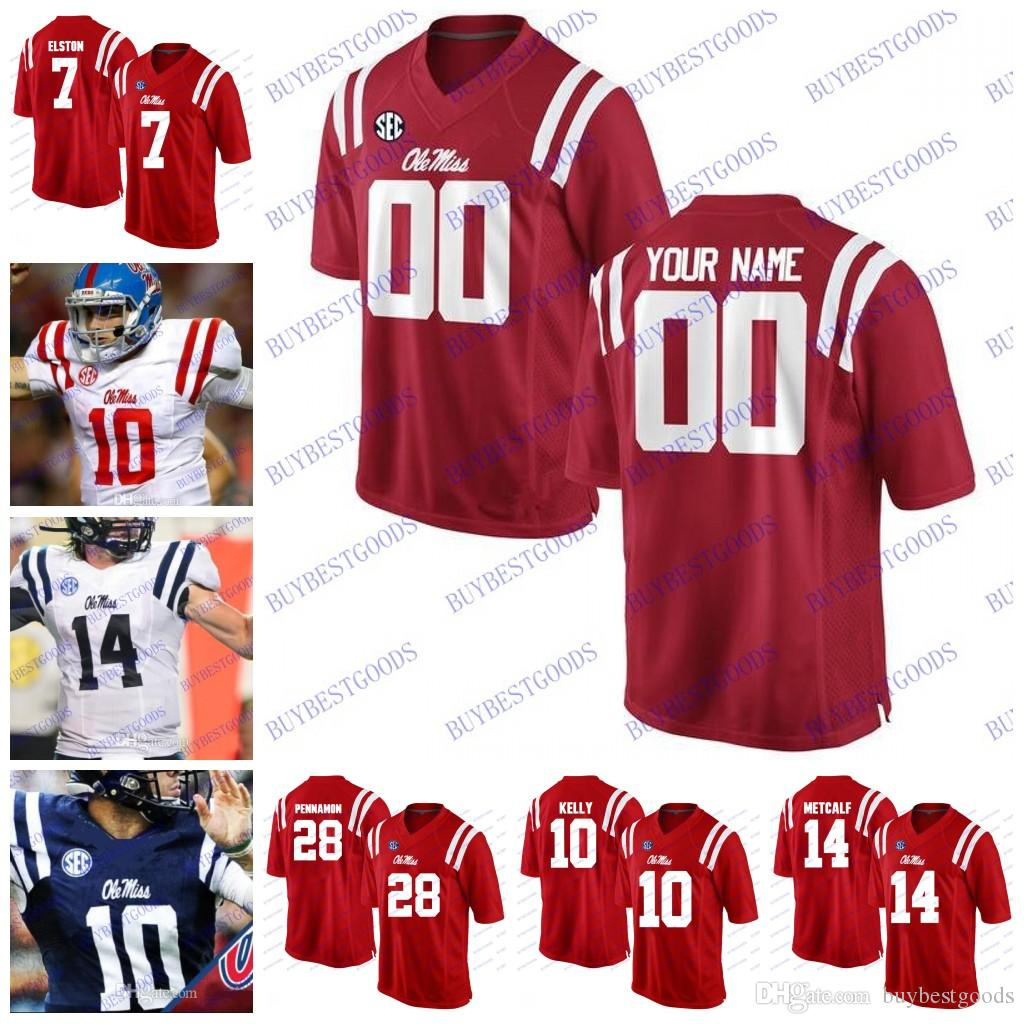 watch 388f7 28fbb Custom Ole Miss Rebels College Football Any Name Number Personalized  Manning 10 Kelly Ta amu Jerseys Stitched White Red Navy