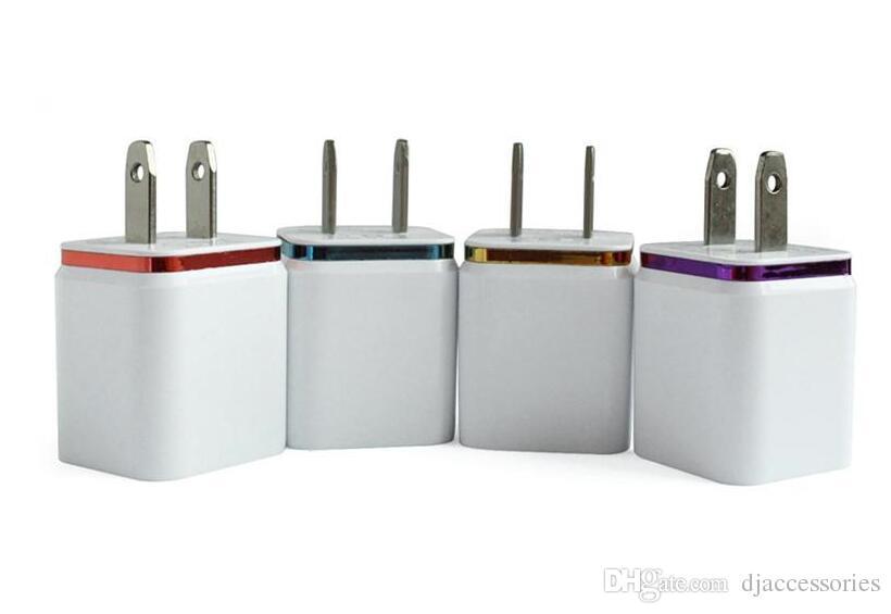 شاحن حائط USB مزدوج الولايات المتحدة قم بتوصيل 2.1A AC الطاقة dapter 2 شاحن حائط USB للهواتف Samsung Galaxy / iPhone / Android