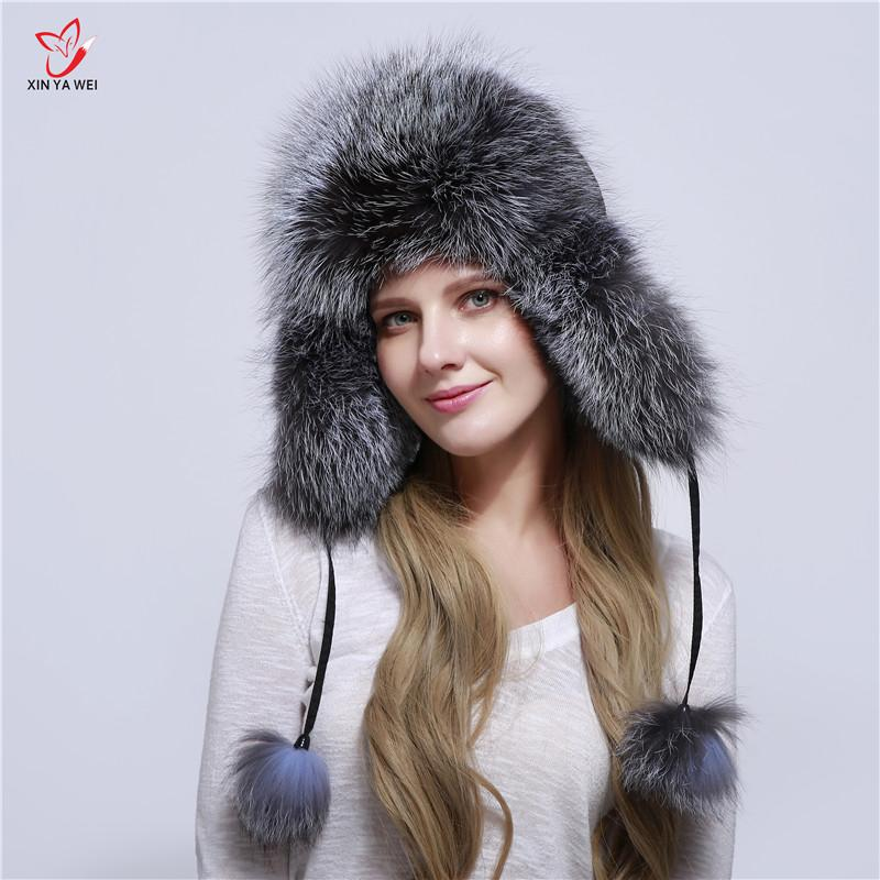 5f4d7d0c2 Free Shipping Russia Fox Fur Hat Fashion Winter Warm Raccoon Bomber Fox Fur  Hat With Ear Flaps For Women Thick And Warm Cap