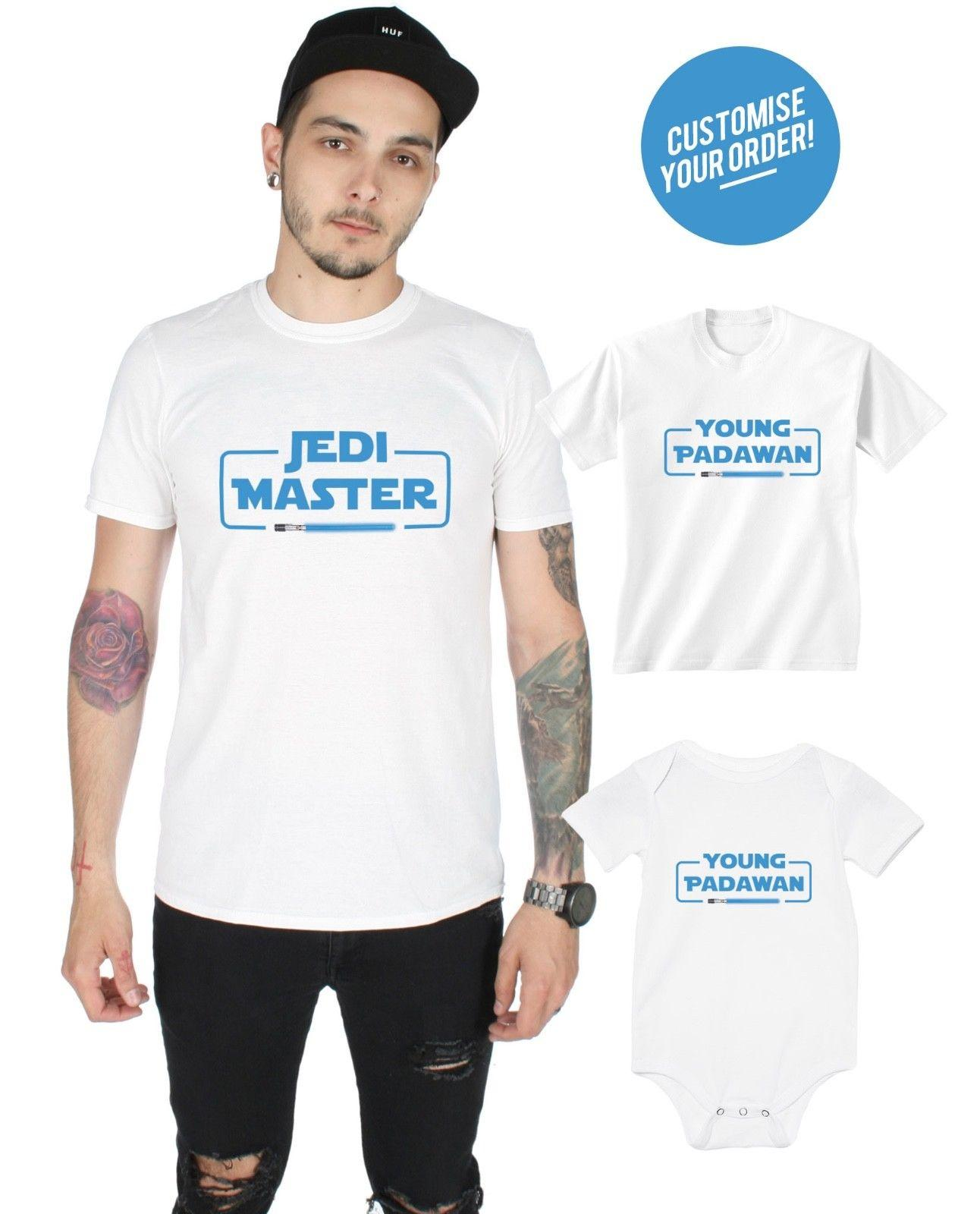 cb270e90 Jedi Master Young Padawan Matching T Shirt Baby Grow Set Dad Father And Son  Gift Funny Unisex Gift Shop T Shirts Online T Shirt Shirt From Topclassa,  ...