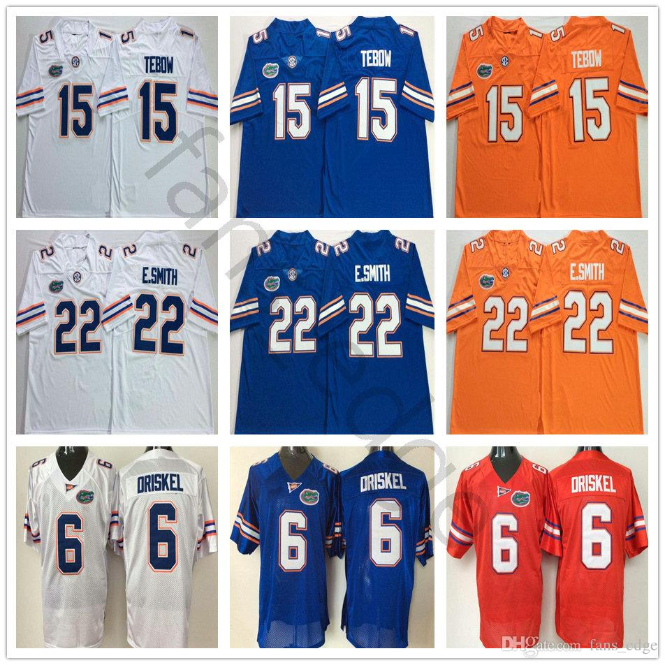 sports shoes a687c 71014 NCAA Florida Gators College 22 Emmitt Smith Jersey E.Smith Blue White  Orange 15 Tim Tebow Stitched 6 Jeff Driskel University Football Jersey