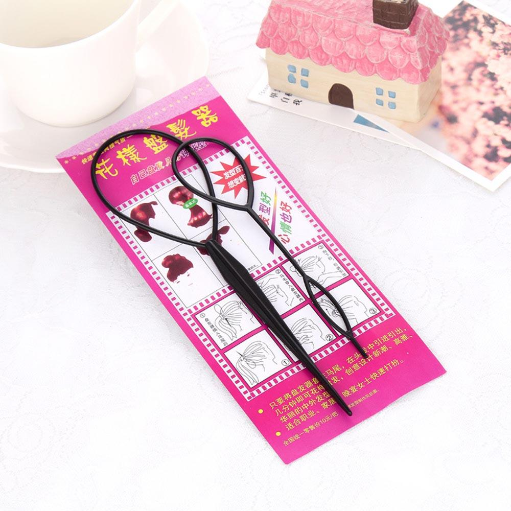 OLD STREET 2pcs (large and samll) Black Plastic Magic Hair Braid Ponytail Maker Clip Tool Simple Hair Style Accessories Styling