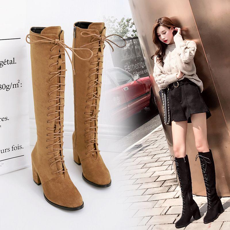 Lena ViVi botas hasta los tobillos altos hasta la rodilla marrón negro con cordones zapatos gamuza sintética 7.5cm tamaño 35 a 40