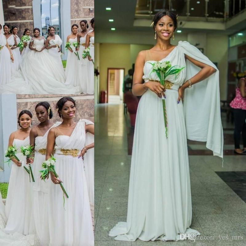 998eba8f02 Compre Vestido De Dama De Honor Saudita Africana 2018 Largo Plisado De Un  Hombro Fruncido Barato Con Fajín Apliques Perlas Más Tamaño Vestido De Dama  De ...