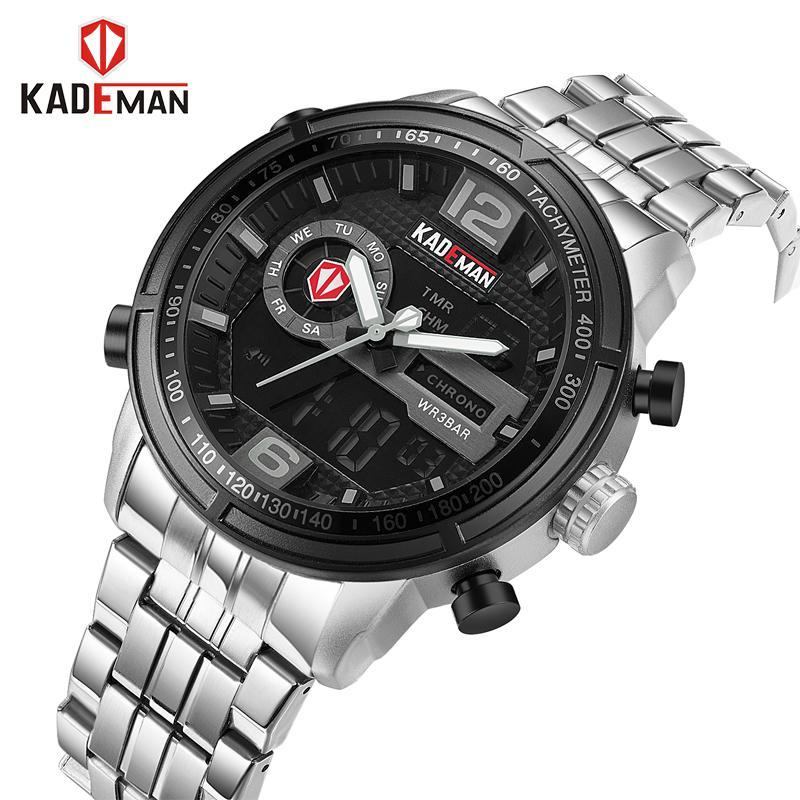 338bedd9460 KADEMAN Casual Brand Men Sport Watches Men S Digital Analog Quartz Full  Steel Waterproof Wrist Watch Relogio Masculino Best Wristwatches Buy  Wristwatches ...