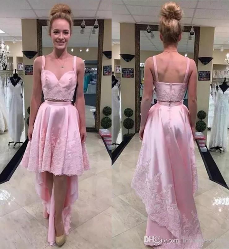 2019 Two Pieces High Low A Line Prom Dresses With Lace Applique