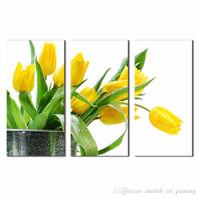 2018 3 Panels Wall Art Green Spring Flowers Yellow Tulip Painting On ...