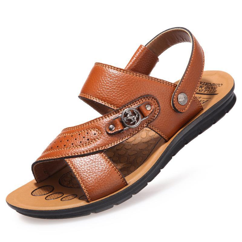 Wholesale New Summer Men's Sandals Genuine Leather Fashion Metal Buckle Slippers Male Casual Beach Shoes Men Flat Sandalias MSH252