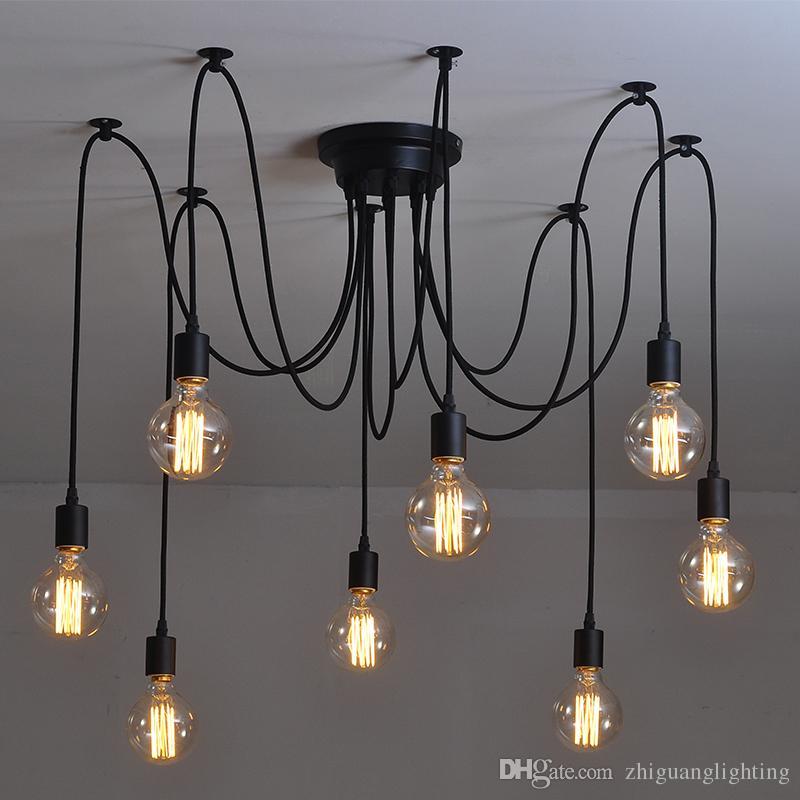 Retro Chandelier Creative Industrial Wind Loft Lamp Restaurant Restaurant  Clothing Shop Office Multi Head Spider