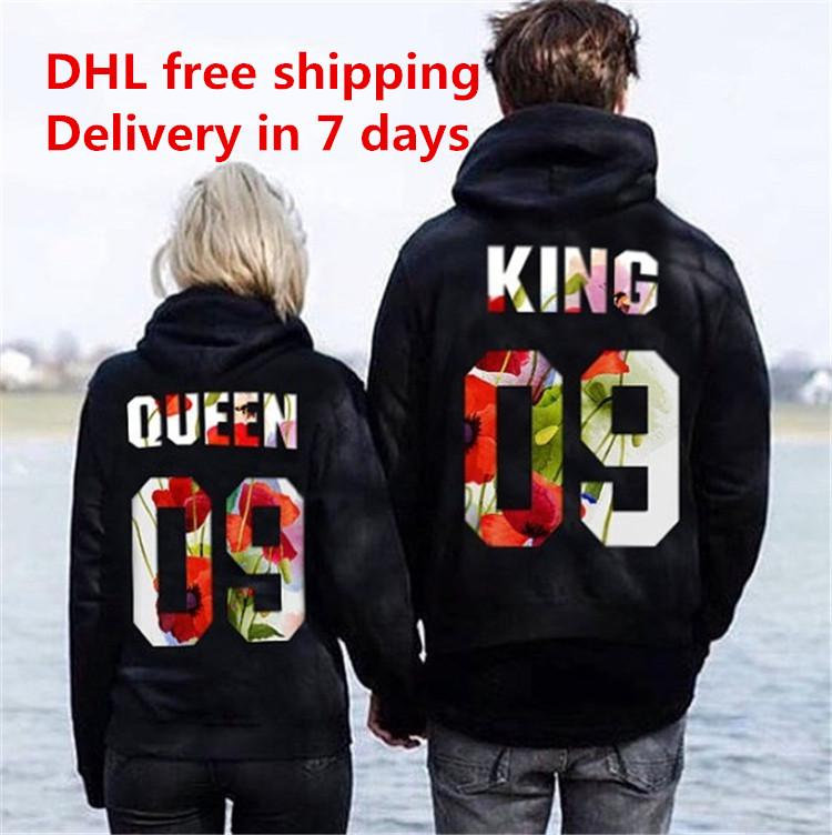 ff2b9b6e9a Women Men Hoodies King Queen printed Sweatshirt lovers couples hoodie  hooded sweatshirt casual Pullovers Valentine's Day DHL 180111
