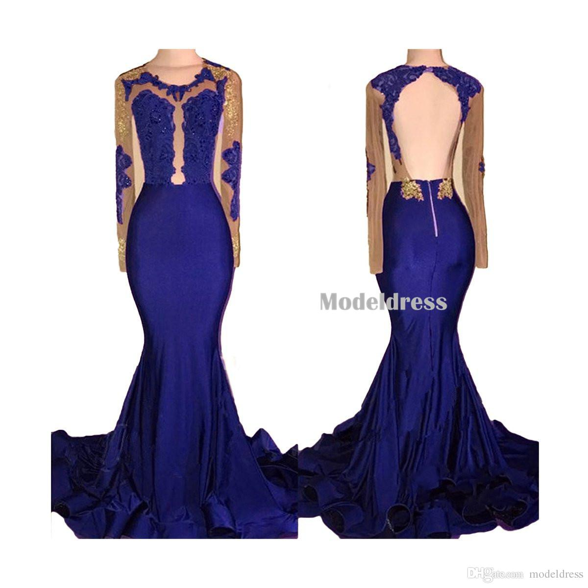 2018 African Black and Gold Mermaid Prom Dresses Long Sleeves Open Back Appliques Beads Sweep Train See Through Burgundy Evening Party Gowns