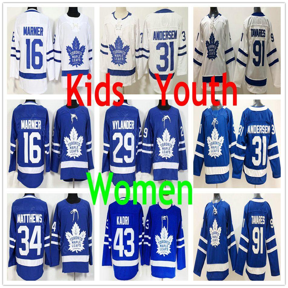 74b2fe1d2a4 Kids Women Toronto Maple Leafs 91 Tavares 34 Auston 16 Mitchell ...