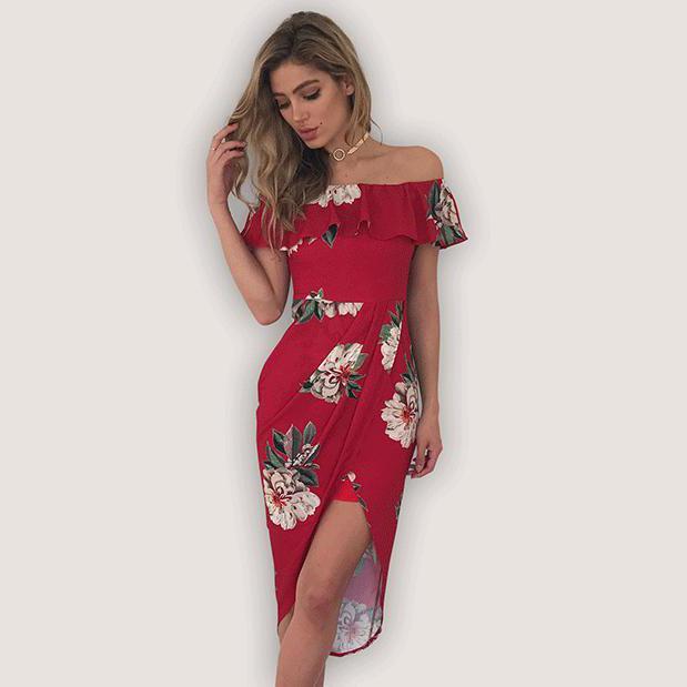 fe0942bc7e17 Echoine Sexy Off Shoulder Flower Print Dress Summer Women Dress ...