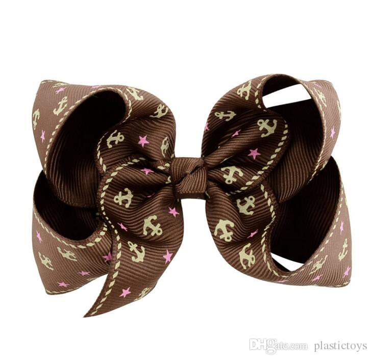 4.5 Inch Navy Hair Bow Jojo Butterfly Clip School Baby Child Navy Bow 6 Style for Valentine's Day