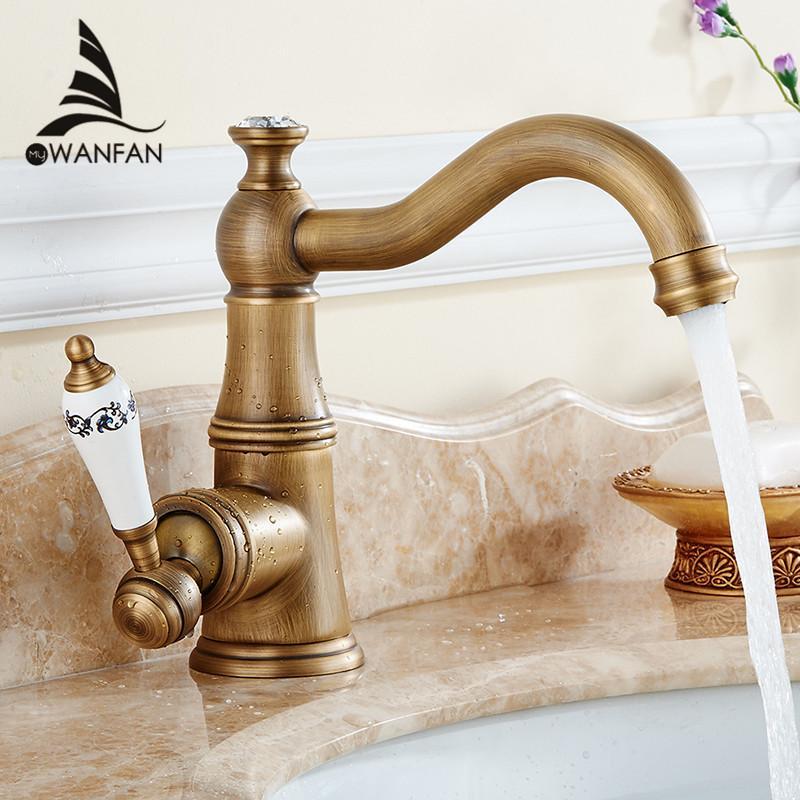 2018 Basin Faucets Antique Brass Bathroom Sink Faucet Single Lever ...