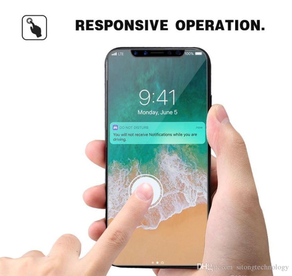 Für iphone xs max gehärtetem glas displayschutzfolie für iphone xr x 8 7 6 samsung edition film 0,33mm 2.5d 9 h anti-splitter papier paket