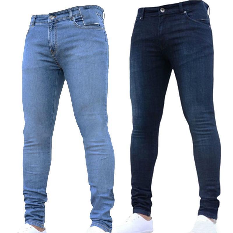 448d0a458a708 Compre 2018 Nuevos Hombres De La Moda  s Pantalones Elásticos Ajustados De  Los Pantalones Vaqueros Pantalones Ajustados Pantalones Vaqueros Del Color  Sólido ...