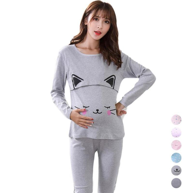 5fc7662e3 Compre Pijama De Lactancia Materna De Maternidad Para Mujeres Embarazadas  Ropa De Noche De Algodón Para Amamantar Pijamas De Lactancia De Embarazo  Conjunto ...