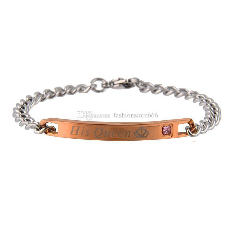 Titane acier bracelets son roi sa reine sa bête son beauté lettrage couronne amour couple bracelet pour hommes bijoux de mode