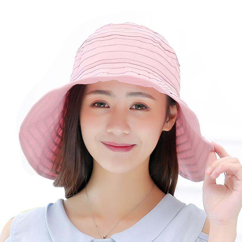 7a1dd920 Summer UV Protection Collapsible Sun Hat Women's Cap Solid Canvas ...