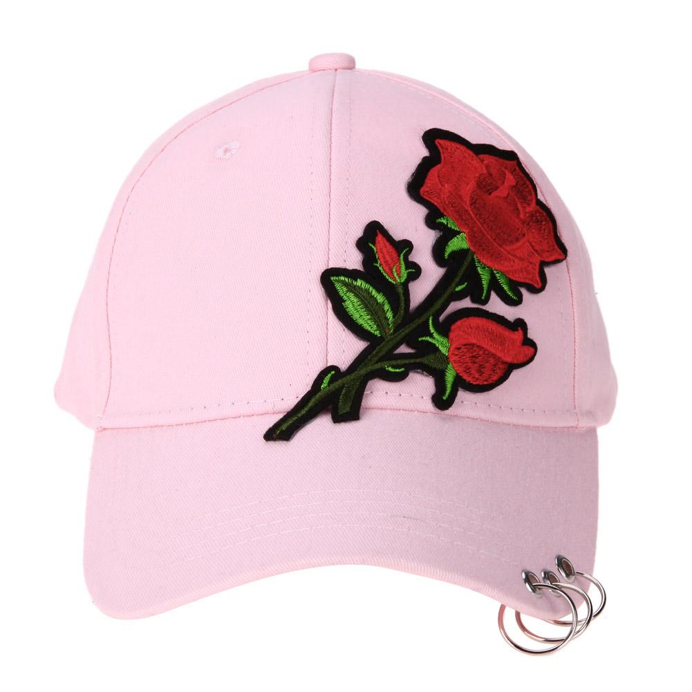 7878cbfad06 New Summer Women 2018 Casual Baseball Cap Flower Embroidery Hat Cap Pink  Black White Snapback Hats Women Men Ny Cap Mens Caps From Huazu