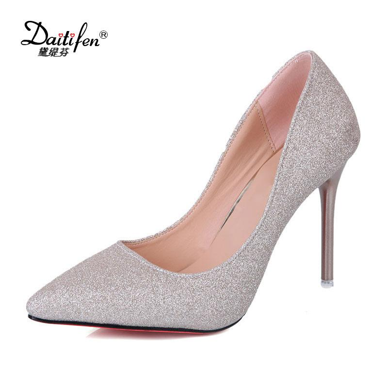 Wholesale Woman Sexy Wedding Party Shoes Gold Silver Women Pumps Bling High  Heels Women Pumps Glitter High Heel Shoes Black Shoes Nude Shoes From  Afantishoe ... 40afdcb391eb