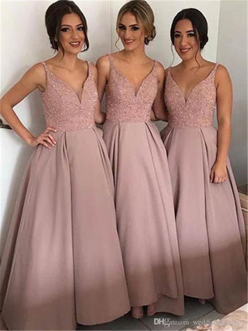 Allık Pembe Ucuz Ülke Gelinlik Modelleri En İyi V Boyun Üst Boncuklu Saten Bohemian Elbiseler Merhaba Düşük Backless Balo Abiye Onur Hizmetçi Elbise