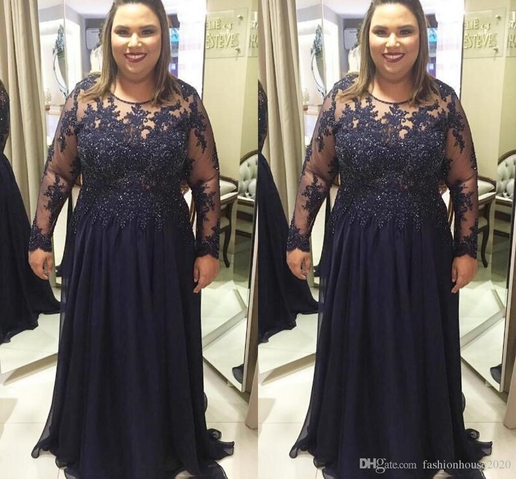 2018 Navy Blue Plus Size Chiffon Mother Of The Bride Dresses Long Sleeves Lace Applique Floor Length For Weddings Party Evening Prom Gowns