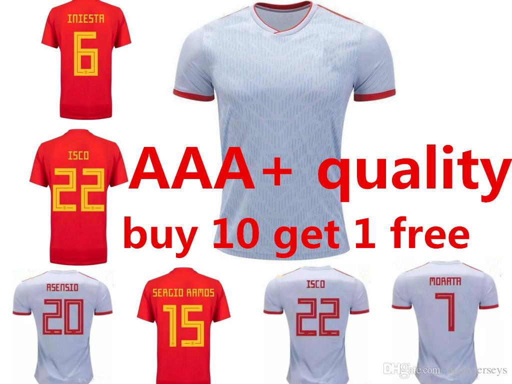 deae0839e 2019 World Cup 2018 Spain Away White Jerseys A.INIESTA RAMOS Home Red Soccer  Jersey 2019 MORATA ISCO ASENSIO Espana National Team Football Shirt From ...