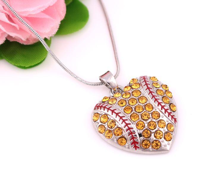26mm*28mm Fashion Sports Jewelry a Rhodium Plated Rhinestone Heart Baseball or Softball Pendant Necklace