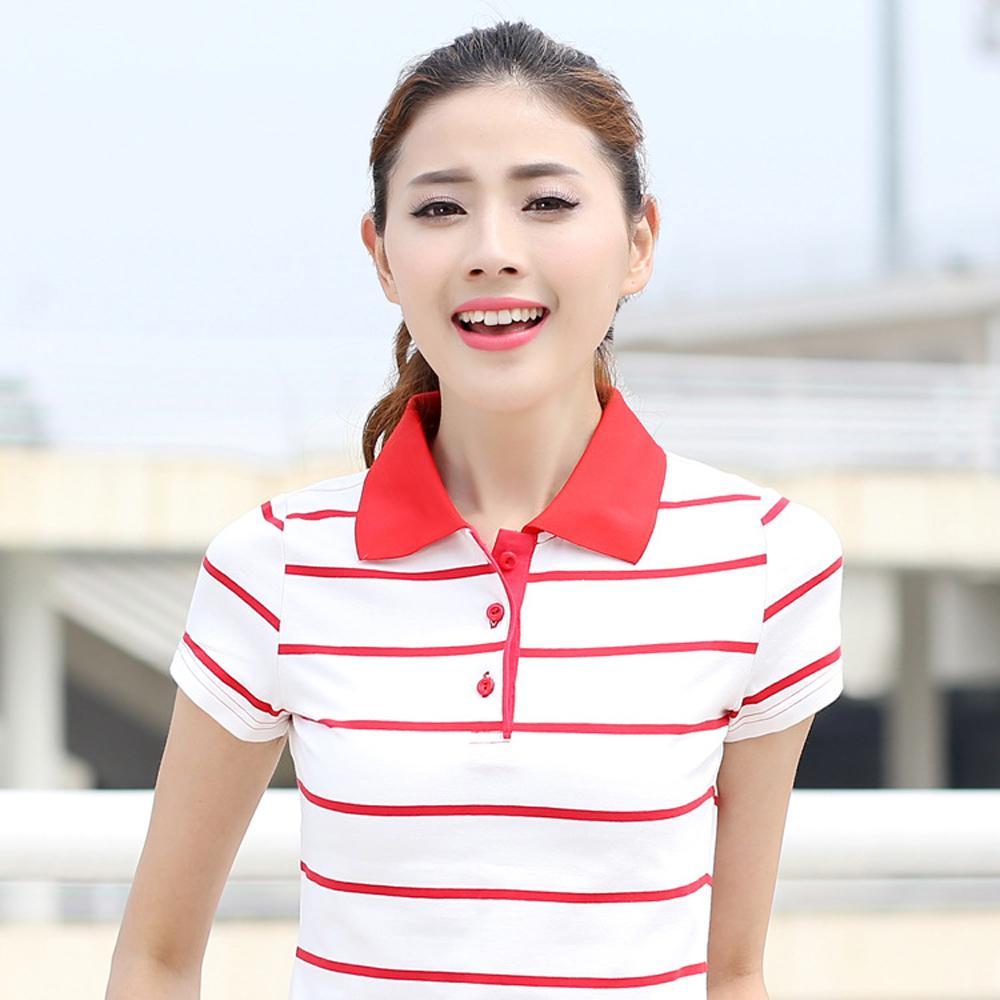 2019 Striped Short Sleeved Golf T Shirt Female Spring Summer Plus