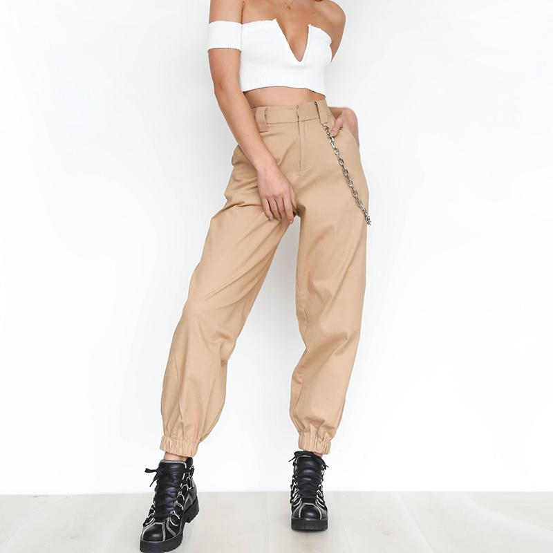 8858b90aa50 2019 Khaki Cargo Pants With Chain Women Cool Trousers Black White Female  Street Wear Casual Autumn Summer Casual Thin Pants Outwear From Candd