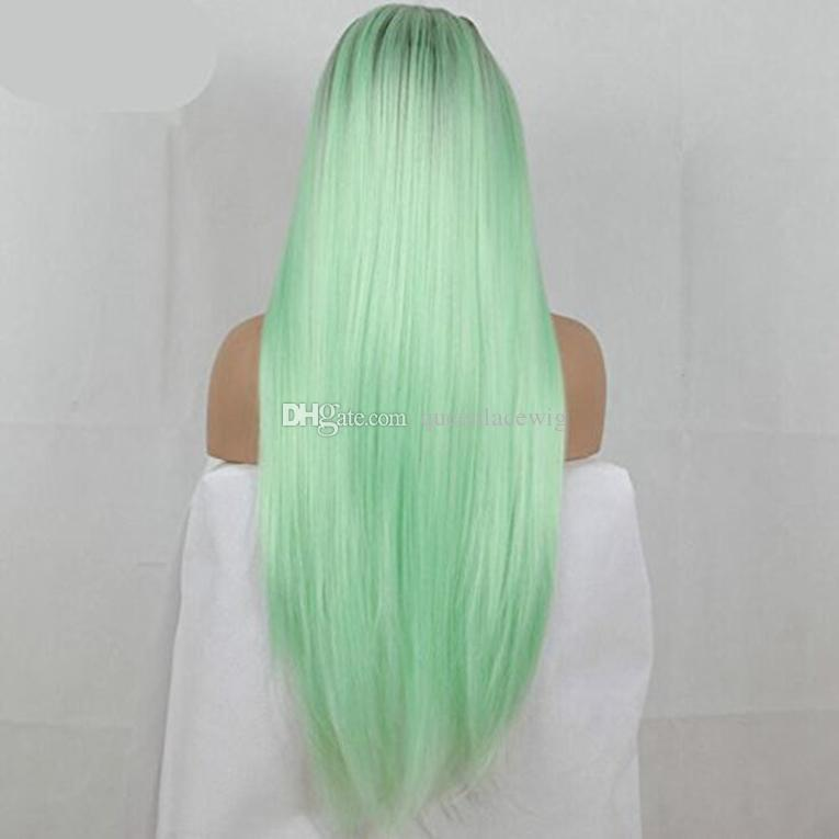 Ombre Mint Green Wig Long Silky Straight Lace Front Hair 180% Density Natural Hairline Black to Green Synthetic Wig Heat Resistant