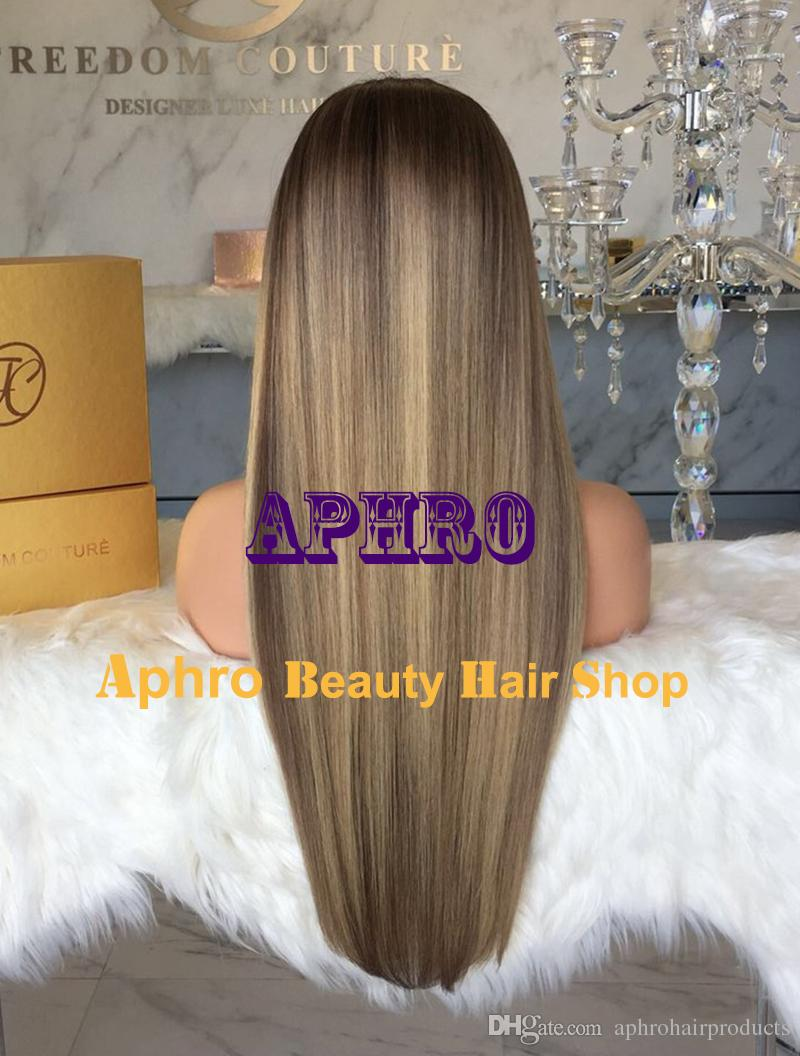 "Luxury European Human Hair Ombre Blend With Face Shaping Highlights Glueless Full Lace Wigs With Silk Base 5x5 inch 20""-30"" 180% Density"