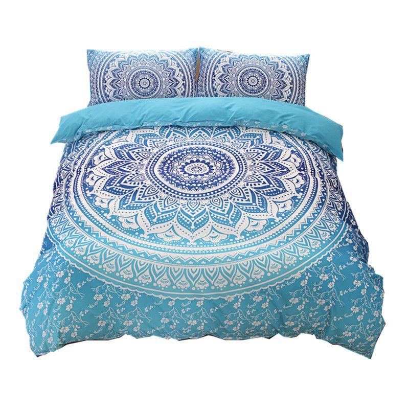 Wholesale Bohemian Bedding Sets Mandala Printing Blue Black White