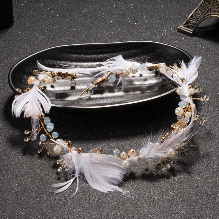 Feather headdress with wedding wedding dress accessories jewelry hair Elf