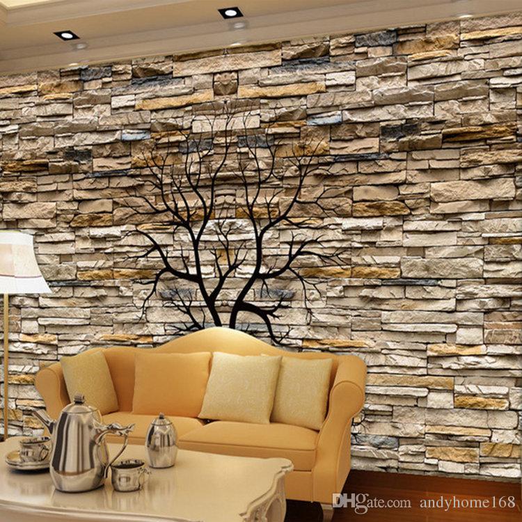 5d Custom Photo Wallpaper 3D Stone Wall Trunk Wallpaper Living Room Sofa TV Background Wall Murals Wallpaper Papel De Parede 3D