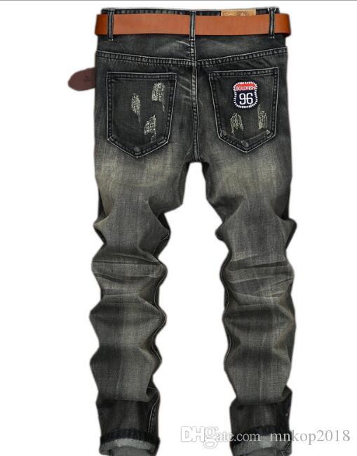 Jeans da motociclista strappati motociclisti strappati NUOVI uomini di moda VINTAGE pantaloni dritti slim fit uomo moto foro denim hip hop punk streetwear