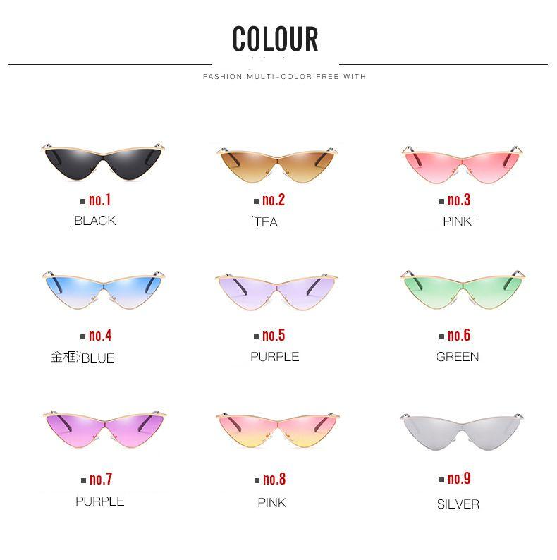 Gafas de sol de ojo de gato de alta calidad Mujeres One Piece Sunglass Vintage Retro Ladies Diseñador de la marca Gafas de sol Black Red Color Pink Mirror