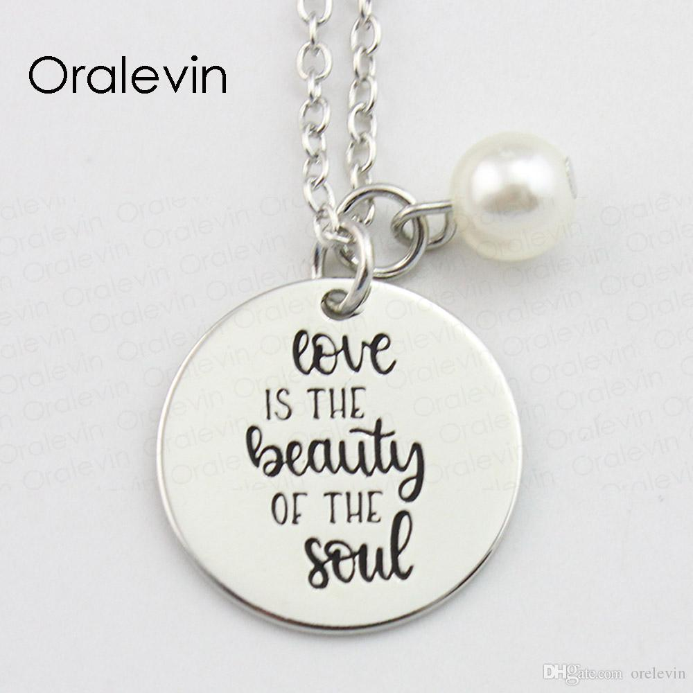 Wholesale Love Is The Beauty Of The Soul Inspirational Hand Stamped