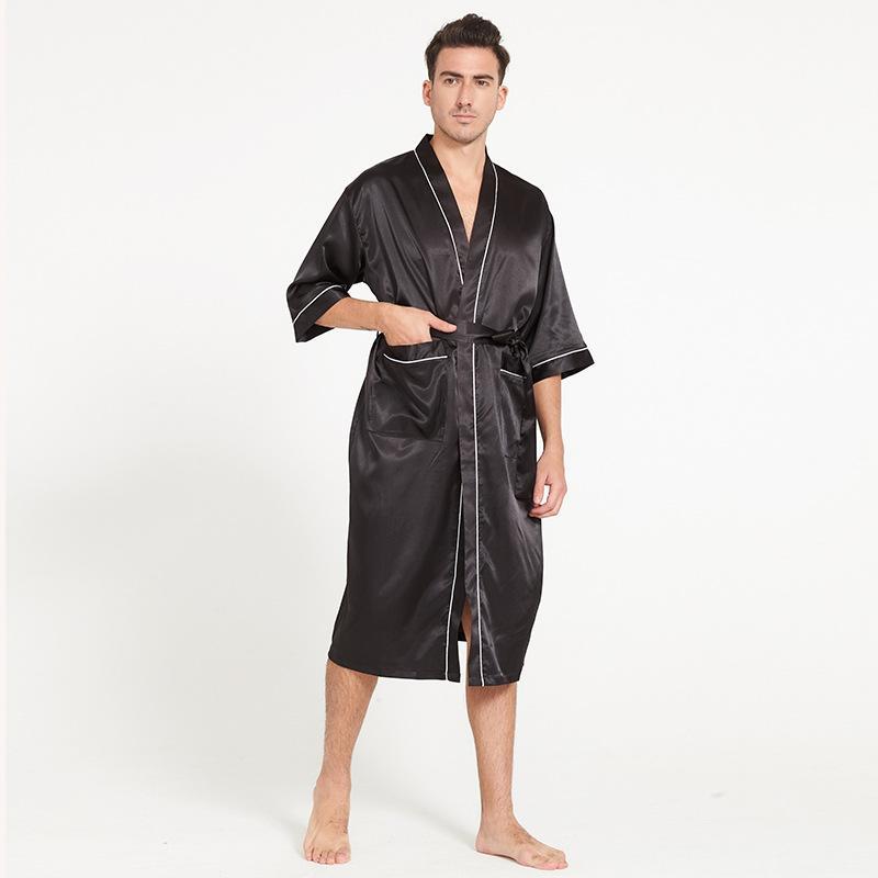 Acheter Sexy Kimono Hommes Soie Pyjamas Doux Satin Male Peignoir A