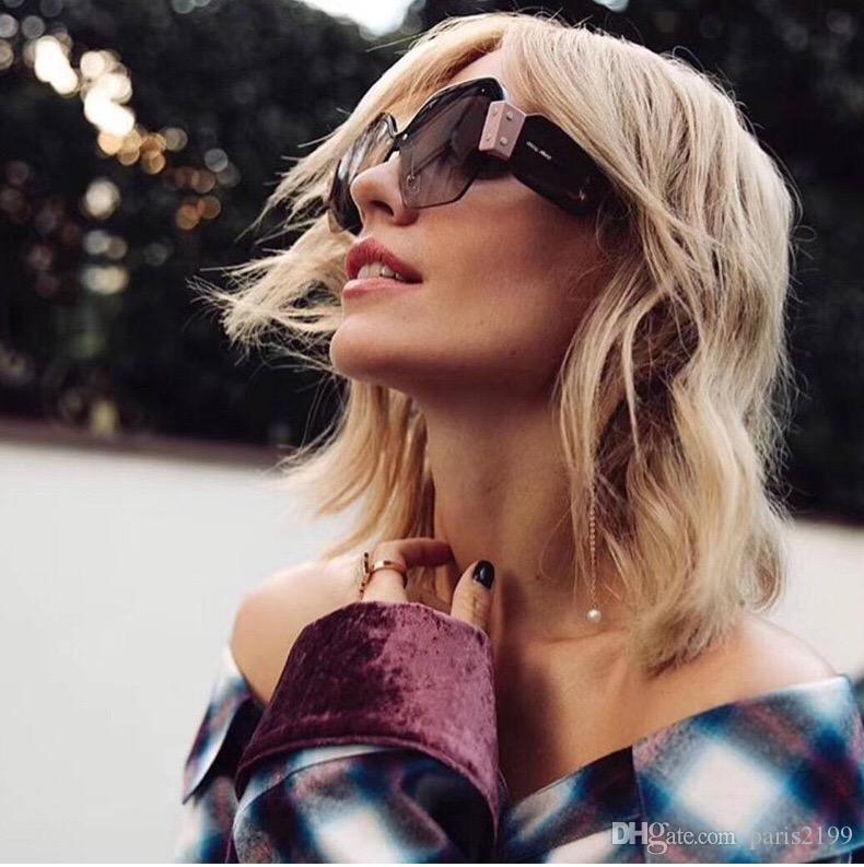 Новая мода солнцезащитные очки роскошные женщины дизайнер популярные моды площади Большой половины кадра солнцезащитные очки