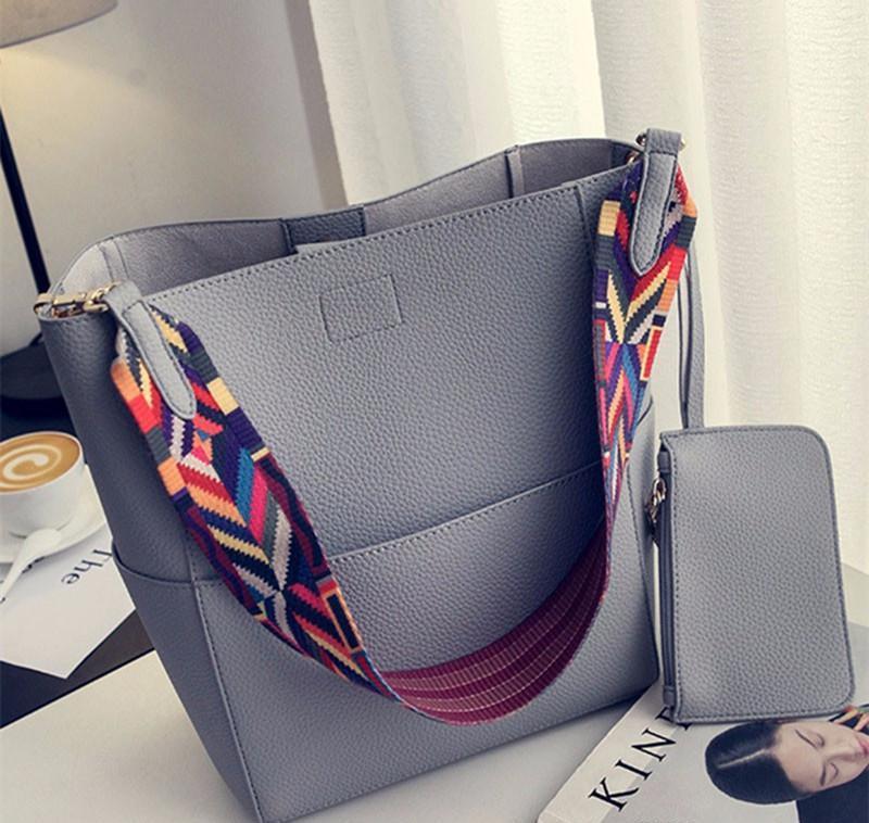 e7b46ca7b5 Luxury Brand Designer Bucket Bag Women Leather Wide Color Strap Shoulder Bag  Handbag Large Capacity Crossbody Bag Rucksacks For Girls Girl Purses From  ...