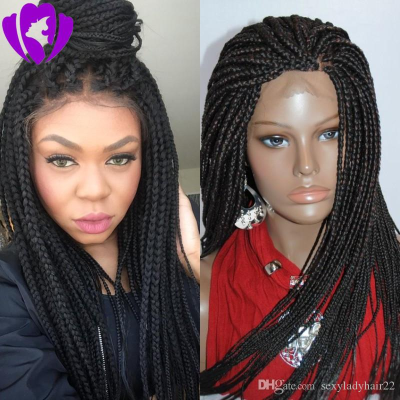 African women Style braided wig with baby hair black/brown /blonde /burgundy Braiding hair synthetic lace front wig for women