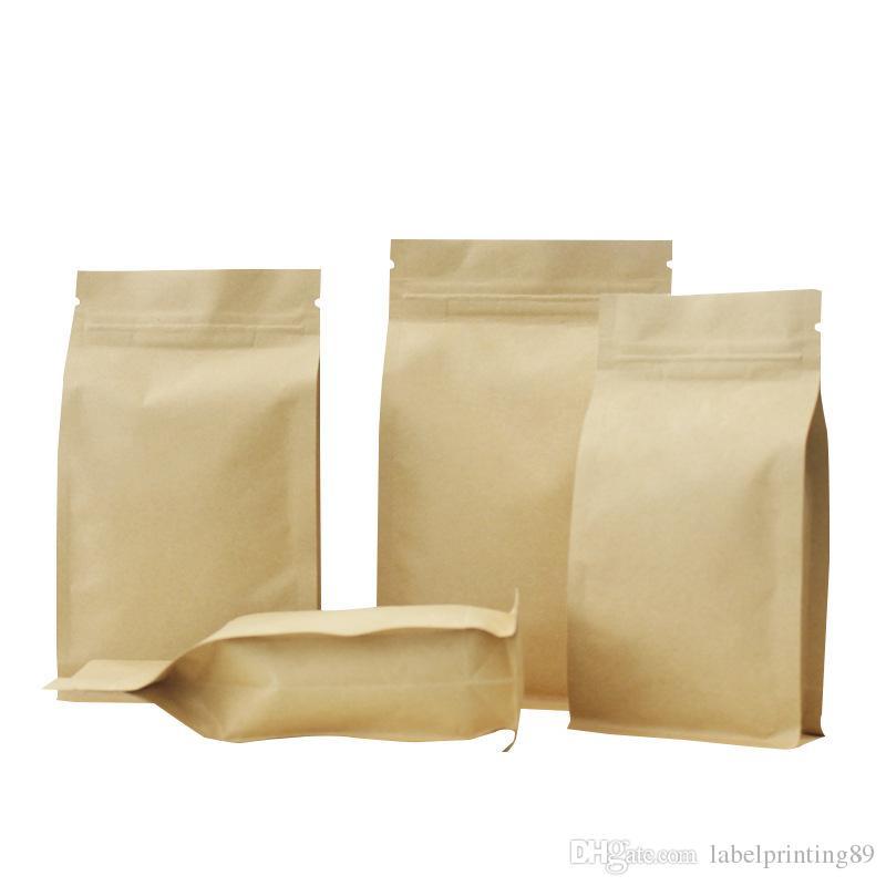 Kraft Paper Otto bordo di tenuta Borse, serratura della chiusura lampo Brown alluminio addensare confezionamento del caffè, Nut, cibo grano pacchetto Sacchetti 6 taglie disponibili