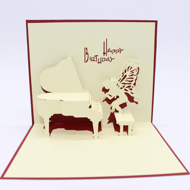 3D Paper Laser Cut Carving Happy Birthday Piano Angel PostCard Greeting Cards Kid Party Invitation Card Girlfriend Gift