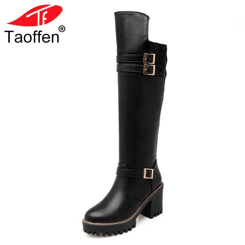 d29b7a31cd Taoffen Vintage Women High Heels Boots Platform Buckle Winter Shoes Women  Warm Fur Knee High Boots Motorcycle Shoes Size 34 43 Womens Ankle Boots  Leather ...