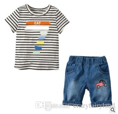 f9c44434a46a 2019 Boys Tops T Shirt Denim Shorts Outfits 2018 Summer Short Sleeve Cotton T  Shirts Shorts Set Boys Clothes Kids Tee Baby Boy Clothing From  Crazyfairyland